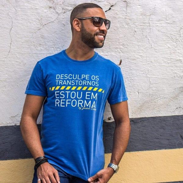 Camisa com Estampa Desculpe os Transtornos - Masculina Azul