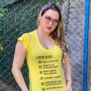 Camisa com Estampa LISTA 2020 - Feminina Amarela.